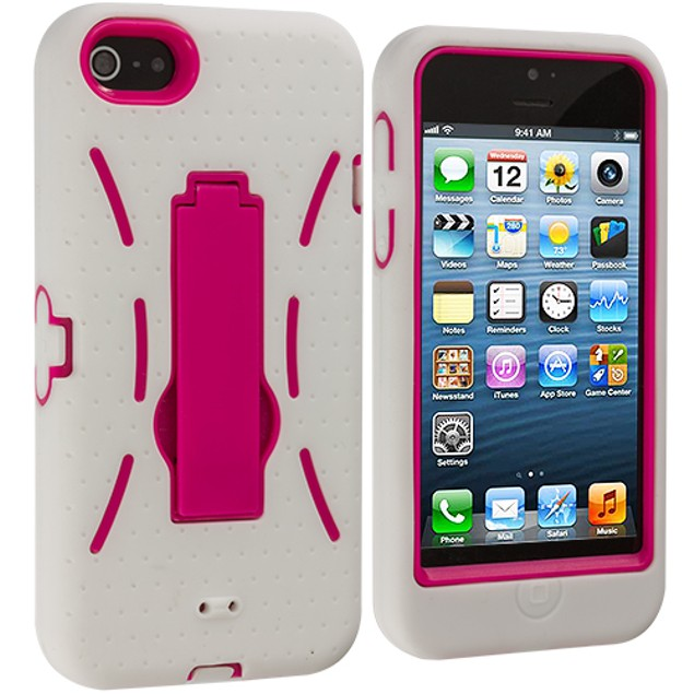Apple iPhone 5 Hybrid Heavy Duty Armor Case Cover with Stand