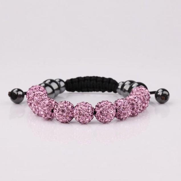 Disco Ball Eleven Beads Austrian Crystal Bracelet - Vibrant Coral