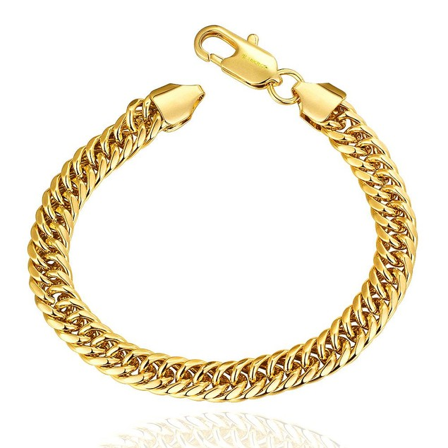 Gold Plated Classic Chain Bracelet with Austrian Crystal