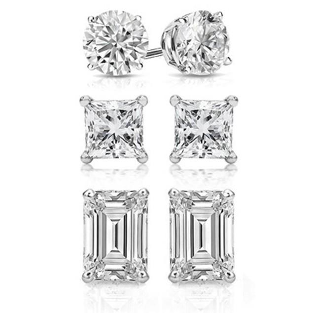 3 Pair: Swarovski Elements Crystal Stud Earrings