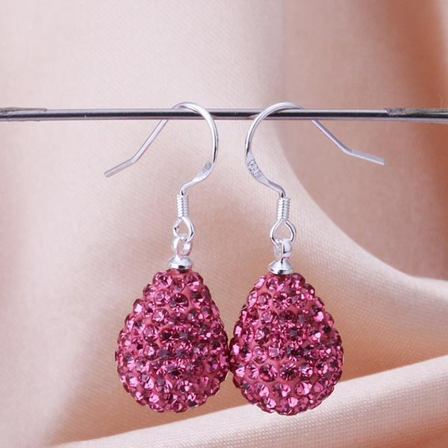 Pear Shaped Solid Austrian Stone Drop Earrings - Bright Coral
