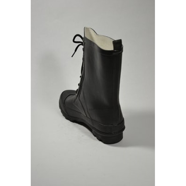 Classic Lace Up Rubber Rain Boots - Black