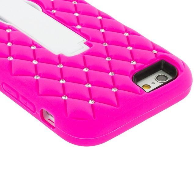 Apple iPhone 6 Plus (5.5) Hybrid Diamond Bling Hard Soft Case Cover Stand