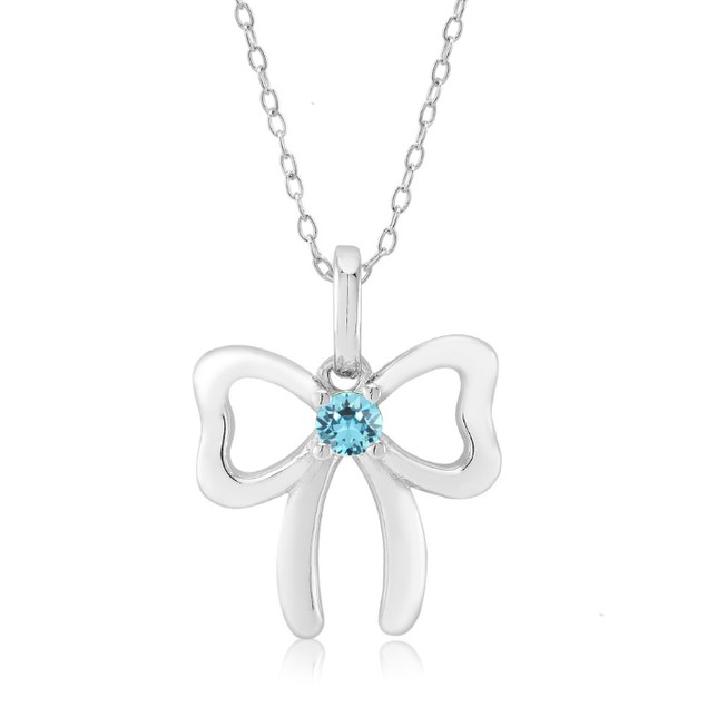 Sterling Silver Birthstone Necklace - Bow
