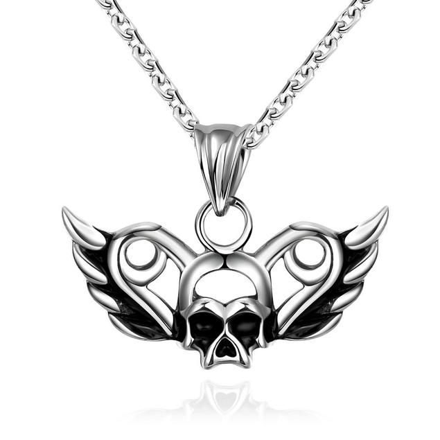 Alpha Steel Flying Skull Emblem Stainless Steel Necklace
