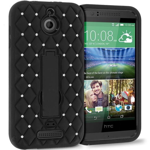 HTC Desire 510 Hybrid Diamond Bling Hard Soft Case Cover Stand