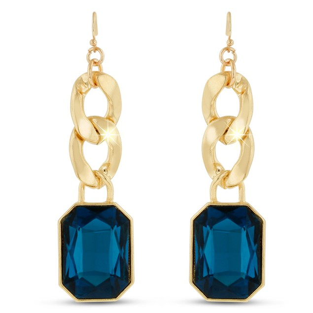 18 Karat Gold Plated Blue Sapphire Glass And Chain Dangle Earrings