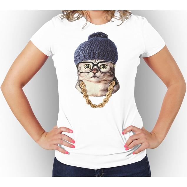 """Cool Cat"" Women T-Shirt, 100% Cotton Body Fit"