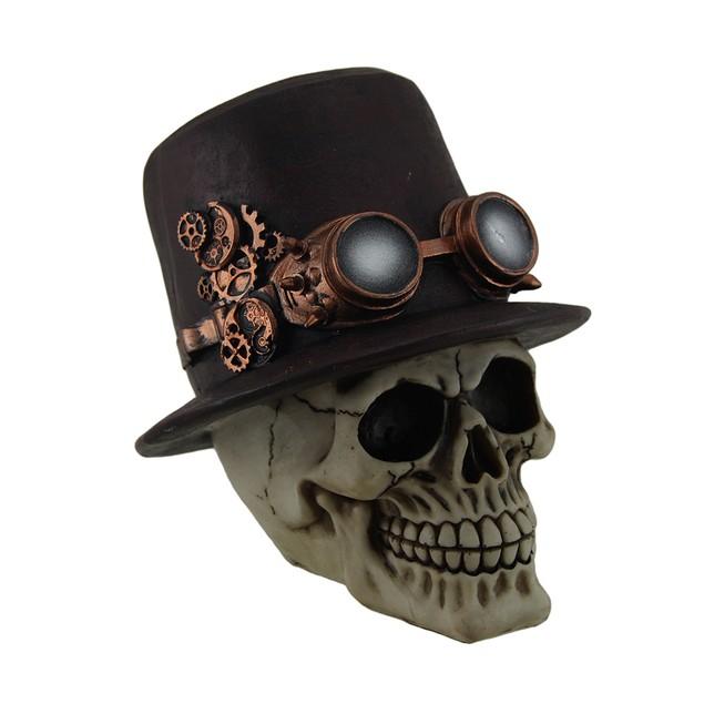 Sir Steam Human Skull Statue Wearing Mechanical Statues