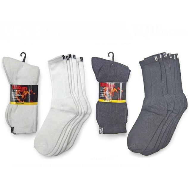 6 Pairs Wilson Men's Cushioned Crew Socks