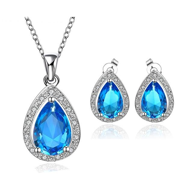 Geometric Oval Ring and Earring Imitation Sapphire Austrian Crystal Set