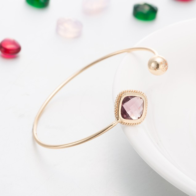 Gold Plated Ruby Gem Sleek Bangle