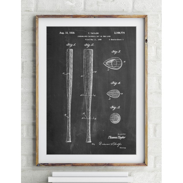 Vintage Baseball Bat 1939 Patent Poster