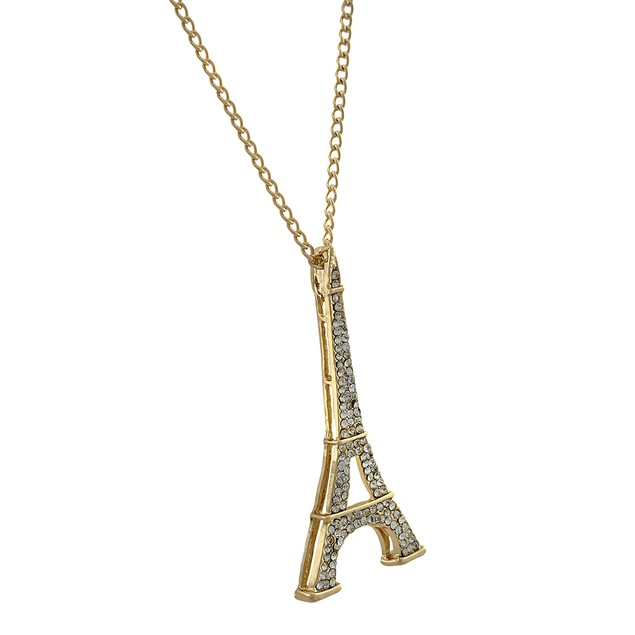 Goldtone Eiffel Tower Rhinestone Encrusted Pendant Necklaces