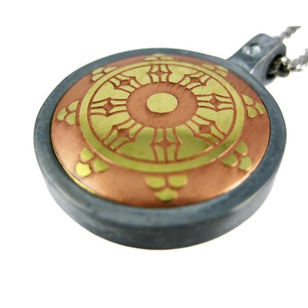 The Dharma Wheel Brass & Steel Pendant / Necklace Mens Pendant Necklaces
