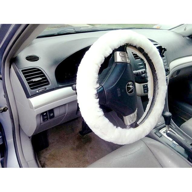 Zone Tech Plush Genuine Sheepskin Car Steering Wheel Cover White