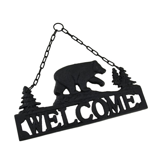 Rustic Black Bear Cast Iron Hanging Welcome Sign Decorative Plaques