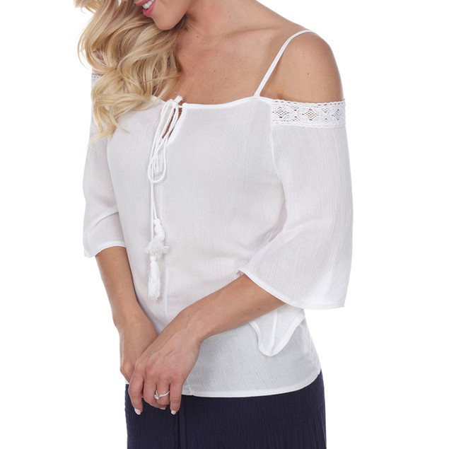 White Mark Universal Cold Shoulder Peasant Top - 4 Colors