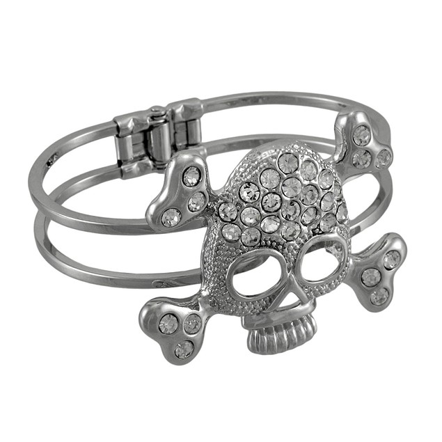 Rhinestone Skull And Crossbones Chrome Hinged Cuff Womens Cuff Bracelets