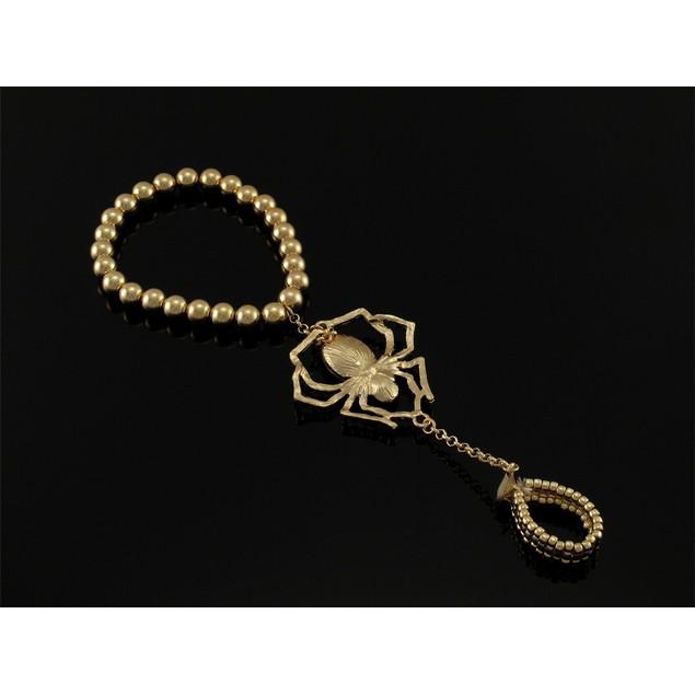 Polished Goldtone Spider Rhinestone Stretch Slave Womens Stretch Bracelets