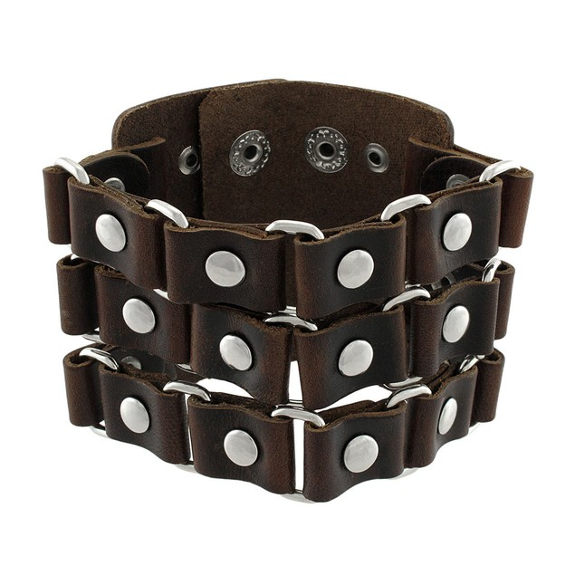 Brown Leather Link And Chrome Rivet Wide Wristband Mens Leather Bracelets