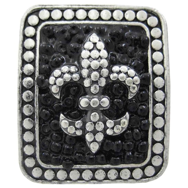 Large Pewter & Black Bead Fleur De Lis Stretch Womens Rings