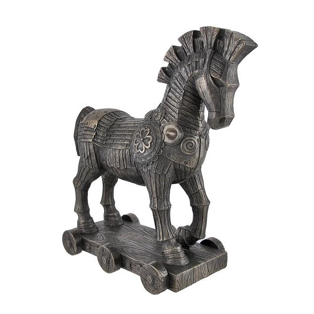 Ancient Greek Bronzed Trojan Horse Statue Statues