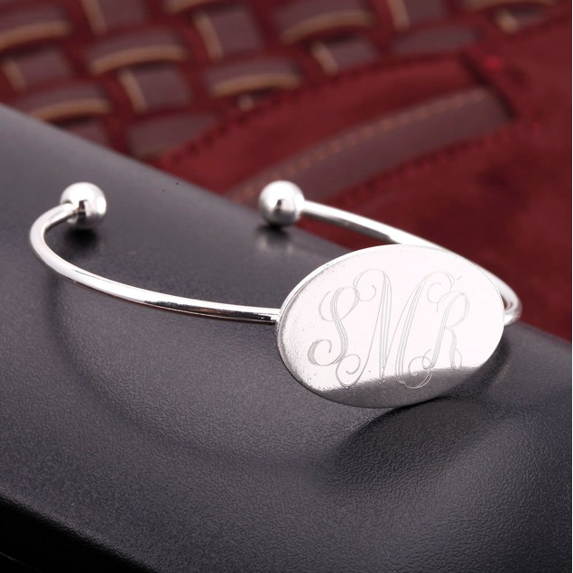 Personalized Gold Plated Oval Cuff Bracelet - 3 Colors