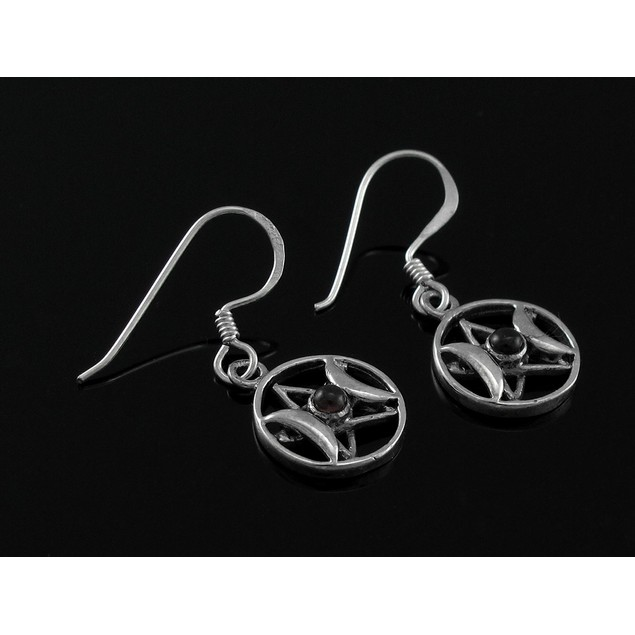 Sterling Silver Triple Goddess Pentacle Dangle Dangle Earrings