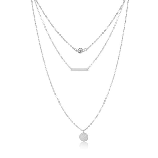 Gold Tone Triple Layer Pendant Necklace