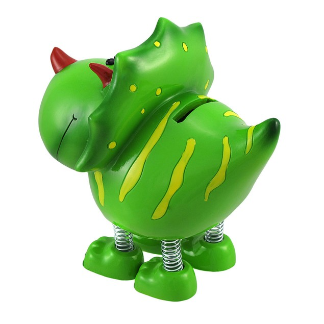 Smiling Green Triceratops Dinosaur With Spring Toy Banks