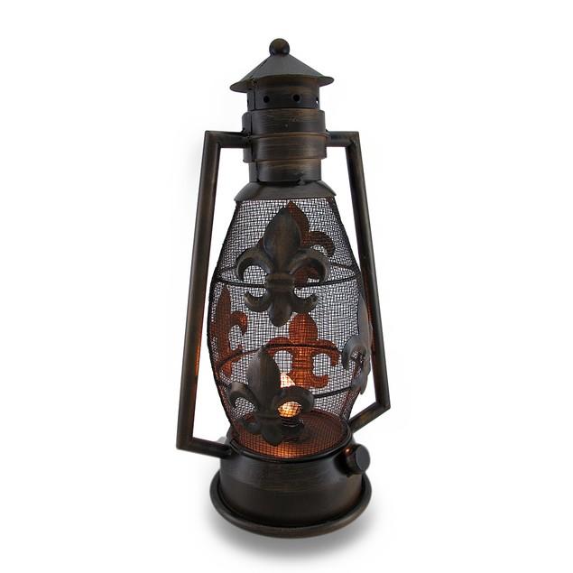 Bronze Finish Fleur De Lis Metal Lantern Style Decorative Candle Lanterns