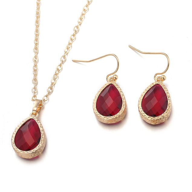 Gold Plated Ruby Jewels Necklace & Earrings Set