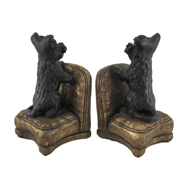 Set Of 2 Perky Scottish Terrier Dogs On Armchairs Decorative Bookends