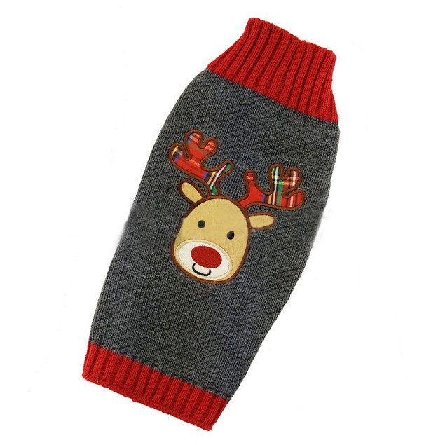 Christmas Pet Dog Deer Sweater with Hood Warm Cute Clothes