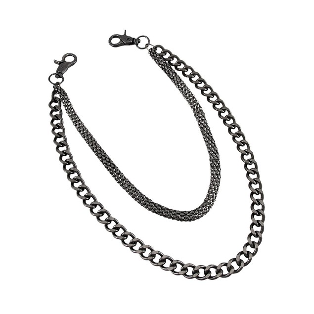 Heavy Gunmetal Finish Double Strand Link Wallet Mens Wallet Chains