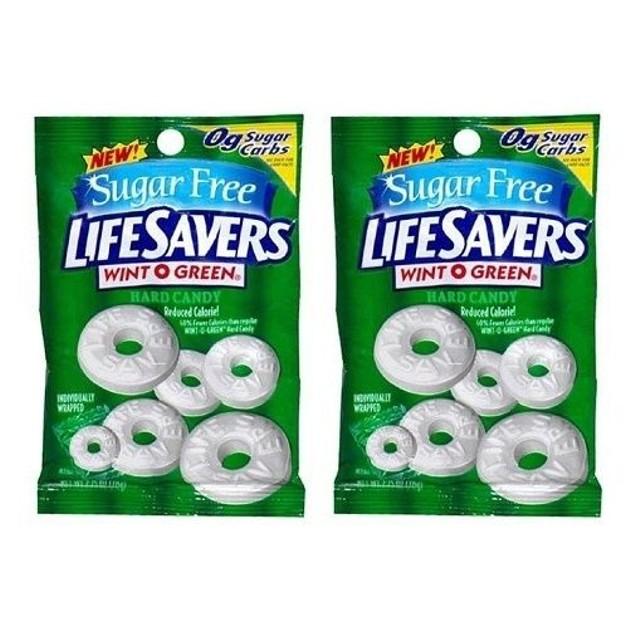SUGAR FREE WINT O GREEN LIFESAVERS HARD CANDY 2 BAG PACK