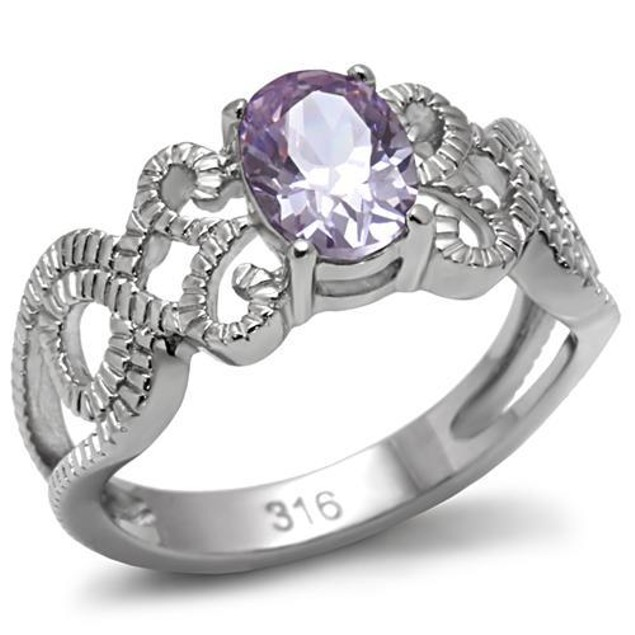 2 ct Oval Amethyst Crystal Ring Stainless Steel