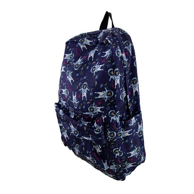 Blue Monkeys In Space Printed Fabric Backpack Womens Backpack Purses