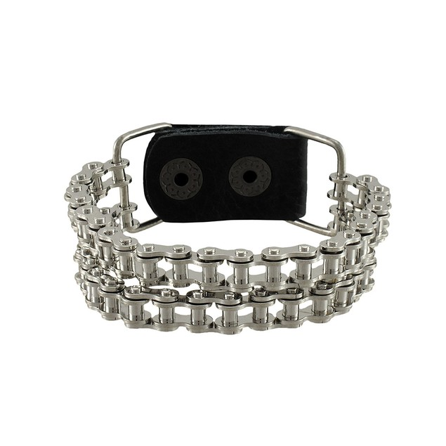 Chrome Plated Double Bike Chain Link 9 Inch Mens Chain Bracelets