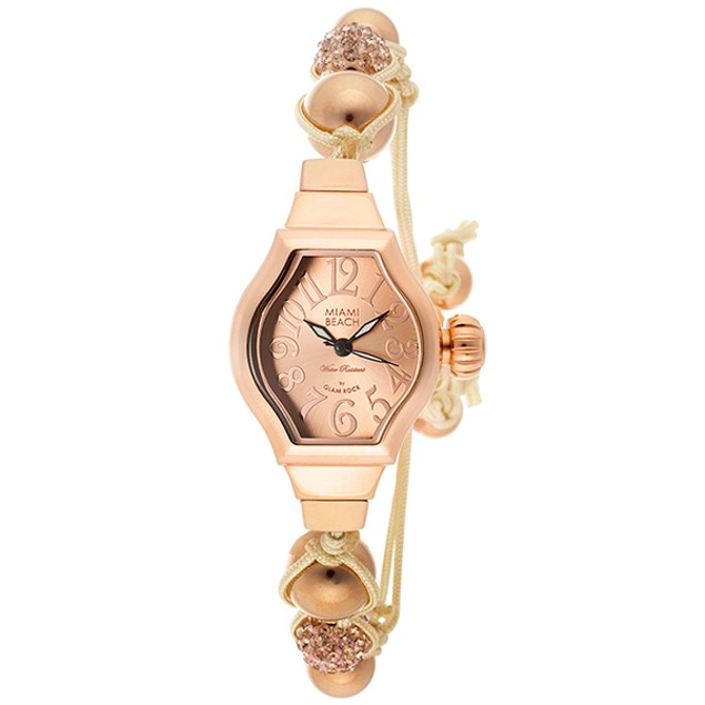 Glam Rock - Women's Miami Beach Art Deco Rose Gold Tone Dial Beige Knotted Cotton & Beads