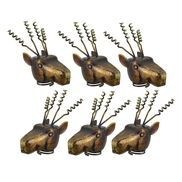 Set Of 6 Metal Deer Head Corkscrew Wine Bottle Wine Bottle Stoppers