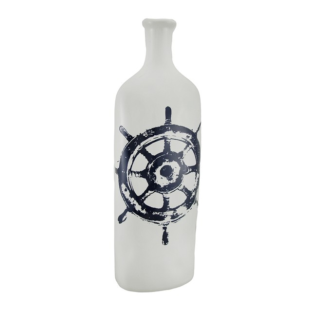 Vintage Nautical Wheel Design Decorative White Decorative Vases