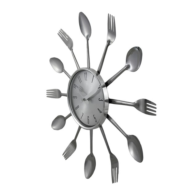 Spoons And Forks Chrome Finish Decorative Wall Wall Clocks