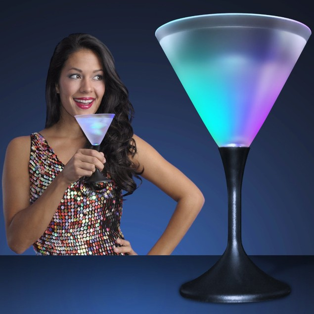4 Pack: Led Martini Glasses With Black Stem