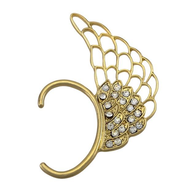 Gold Tone Angel Wing Rhinestone Ear Cuff Ear Cuffs