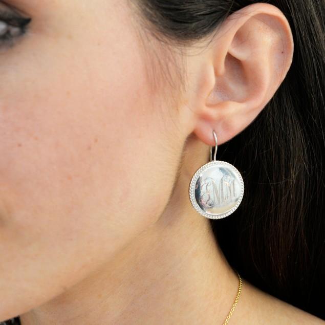 Personalized Monogram Braided Drop Earrings