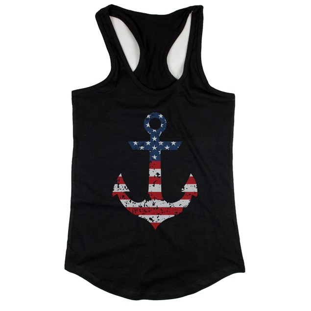 Red White Blue Anchor RacerBack Tank Top for Fourth of July Collection