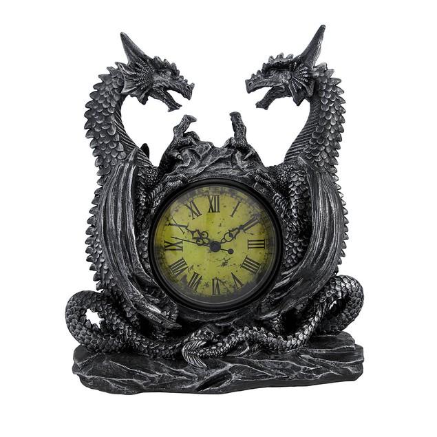 Twin Evil Dragons Antiqued Mantel Clock Table Desk Desk Clocks
