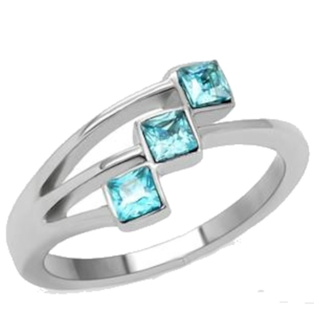 Ladies Princess Cut Blue Stone Fashion Ring Stainless Steel